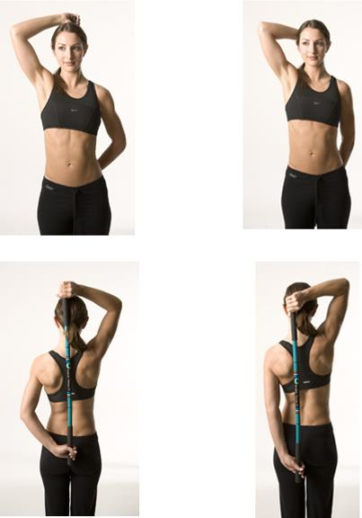 Hold bar behind your back as shown with affected arm at top of bar